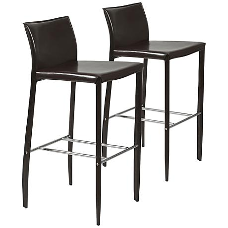 """Set of 2 Shen-B 30"""" Brown Faux Leather Bar Chairs"""