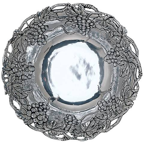 "Arthur Court Grape Silver 12"" Bowl with Fretwork"