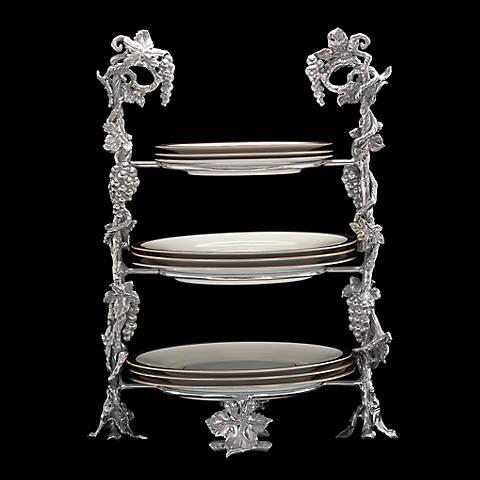 Arthur Court Grape Silver Buffet Plate Caddy