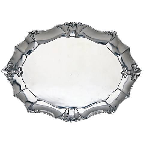 Arthur Court Fleur-de-Lis Oval Silver Platter