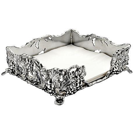Arthur Court Grape Silver Luncheon Napkin Box