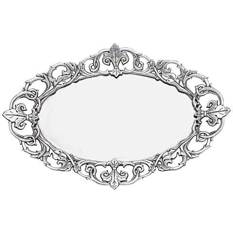 Arthur Court Fleur-de-Lis Silver Oval Serving Tray
