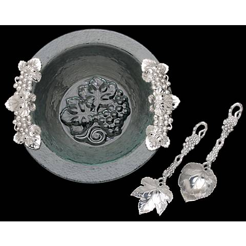 Arthur Court Grape Silver and Glass Salad Bowl