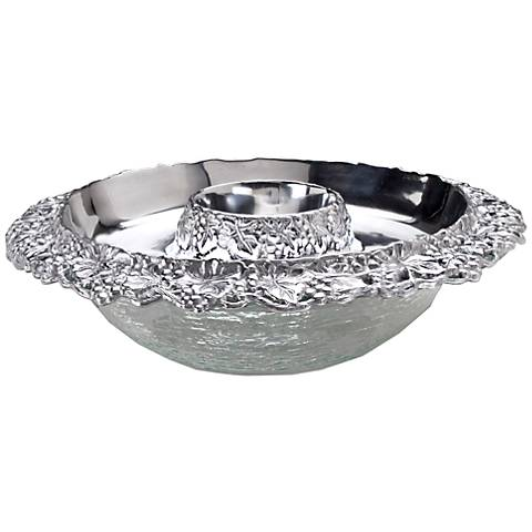 Arthur Court Grape Silver Appetizer Tray with Glass Bowl