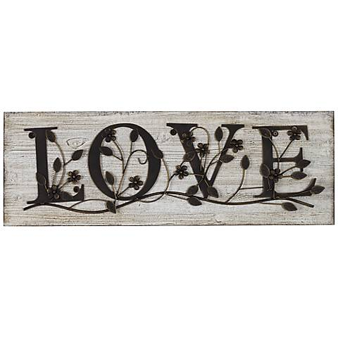 "Love 26 1/2"" Wide Wood Wall Plaque"
