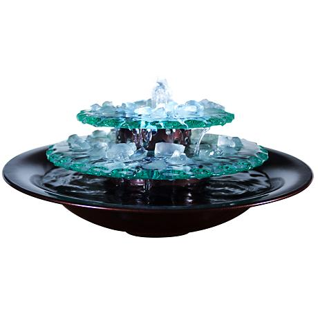 """Moonlight Glass 9 1/2""""H Indoor/Outdoor LED Table Fountain"""