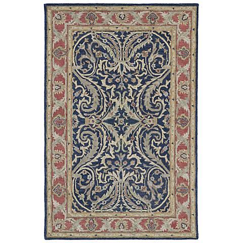 Kaleen Solomon 4050-17 Tyre Blue Wool Area Rug