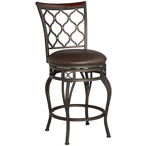 "Malika 25"" Bronze Metal with Gold Accents Counter Stool"