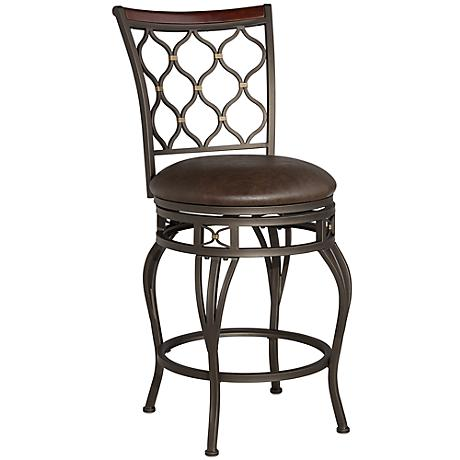 """Malika 25"""" Bronze Metal with Gold Accents Counter Stool"""