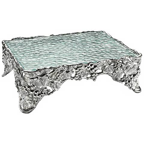 "Arthur Court Grape Silver 17"" Wide Sheet Cake Pedestal"