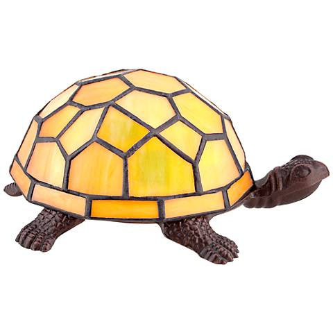 Amber Yellow Tiffany Shell Turtle Accent LED Lamp