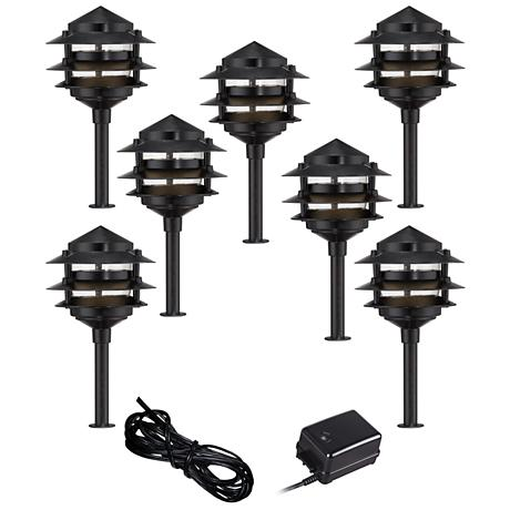 Pagoda Black 9-Piece Outdoor LED Landscape Lighting Set