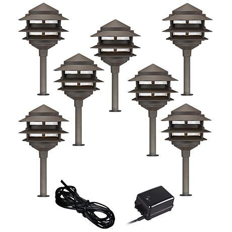 Pagoda 9 piece complete outdoor led landscape lighting set for Outdoor landscape lighting sets
