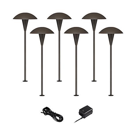 Mushroom bronze 8 piece outdoor led landscape lighting set for Outdoor landscape lighting sets