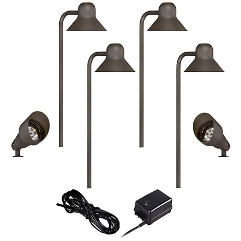 LED Path and Spot Light Kit in Bronze with Transformer and Cable