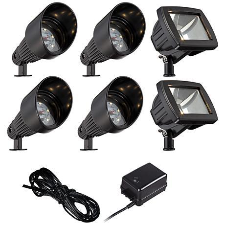 LED Bronze Spot and Path Light Landscape Kit in Black