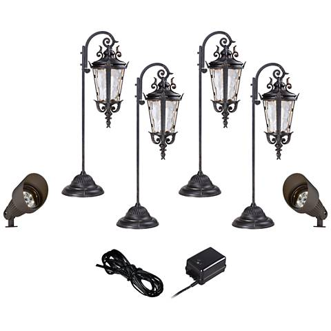 Casa Marseille 8-Piece LED Landscape Light Kit in Bronze