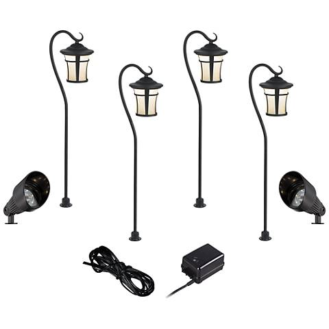 LED Carriage and Spotlight Complete Landscape Kit in Black