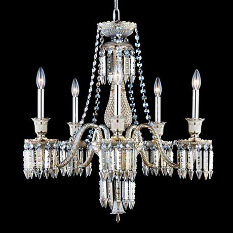 "Majestic Collection 27"" Wide Golden Teak Chandelier"