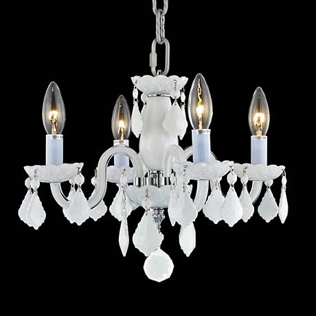 """Rococo Collection 15"""" Wide White Chandelier"""