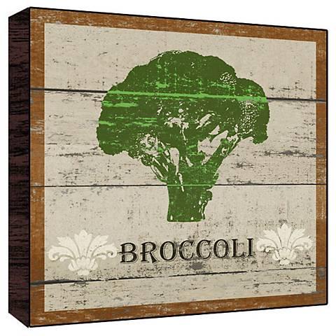 "Earthy Green Broccoli 12"" Square Rustic Wood Wall Art"