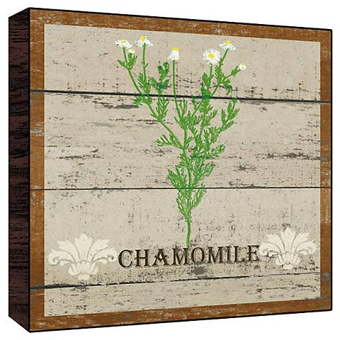 "Earthy Green Chamomile 12"" Square Rustic Wood Wall Art"