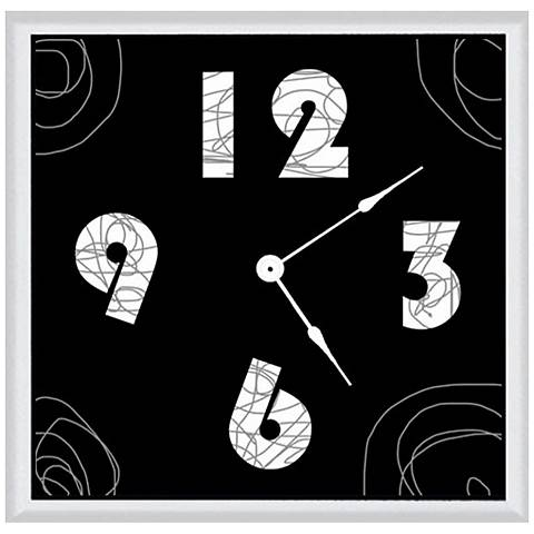 "Abstract Black 16"" Square Wood Clock"