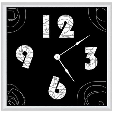"""Abstract Black 16"""" Square Wood Clock"""