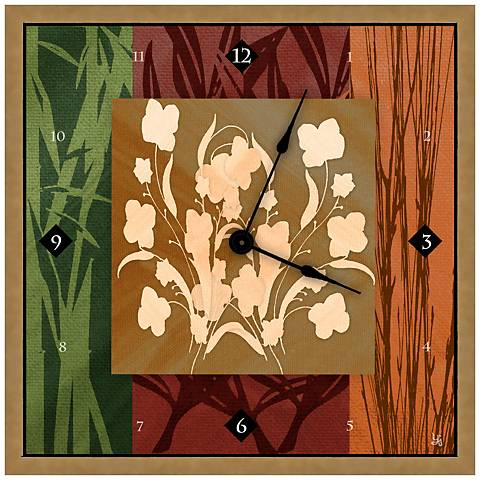 "Abstract Floral Decoration II 16"" Square Clock"