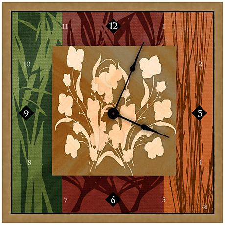 """Abstract Floral Decoration II 16"""" Square Clock"""