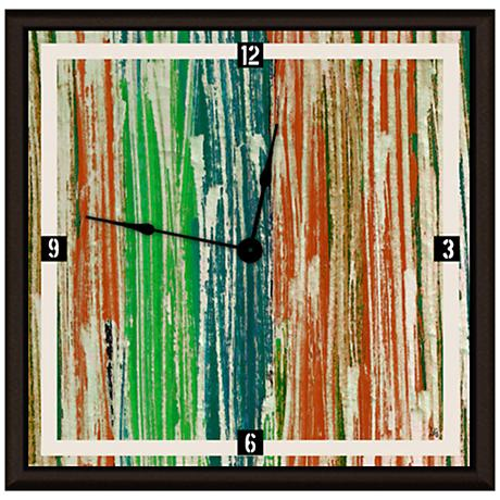 """Abstract Green And Orange Lines 16"""" Square Clock"""