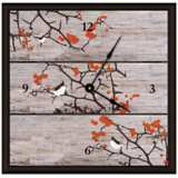 "Birds On Tree Ii 16"" Square Rustic Clock"