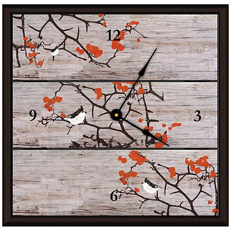"Birds On Tree Ii 16"" Square Rustic Clock"
