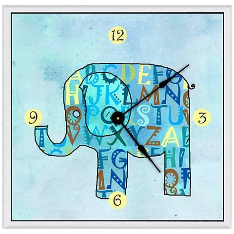 "Children's Blue Elephant 11"" Square Clock"