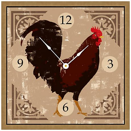 """Rooster On Cream 16"""" Square Rustic Clock"""