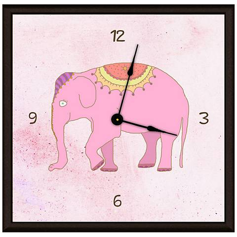 "Cartoon Elephant On Pink 11"" Square Clock"