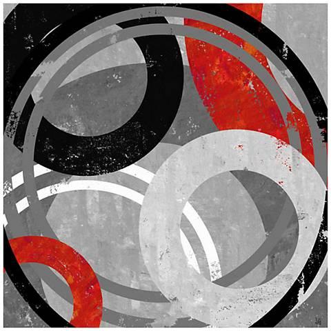 "Target Circles II 24"" Square Abstract Canvas Wall Art"