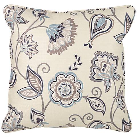 """angelo:HOME 18"""" Square White and Blue Paisley Pillow"""
