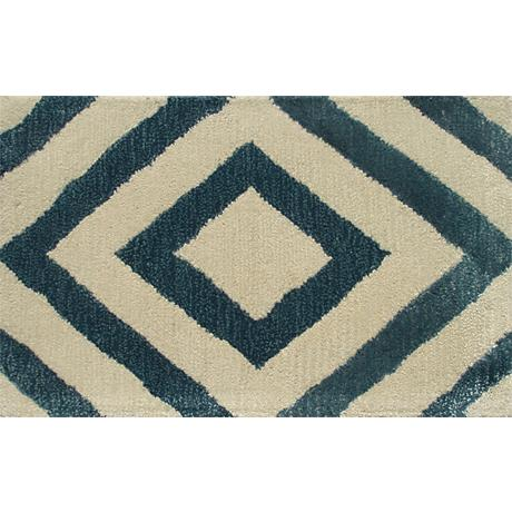 Zuel Blue and Ivory Diamond Doormat