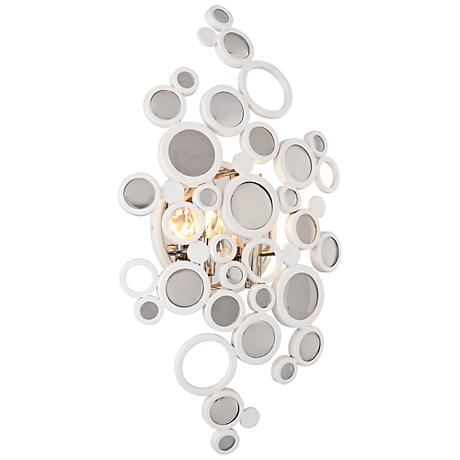 "Corbett Fathom 21 1/2"" High Crystal Disc White Wall Sconce"