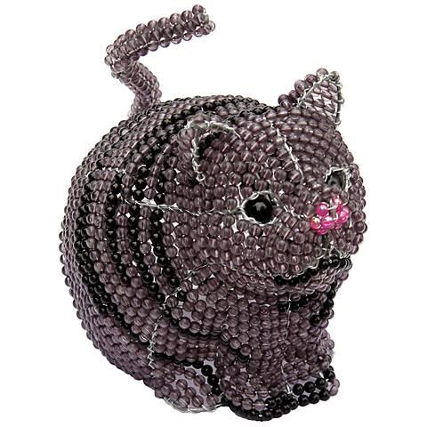 Beadworx Gray Cat Hand-Crafted Beaded Night Light