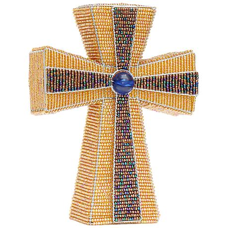 Beadworx Metallic Cross Hand-Crafted Beaded Night Light