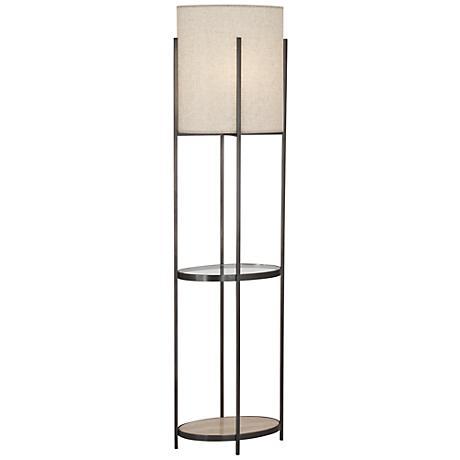 Robert Abbey Colonnade Bronze Floor Lamp with Shelf