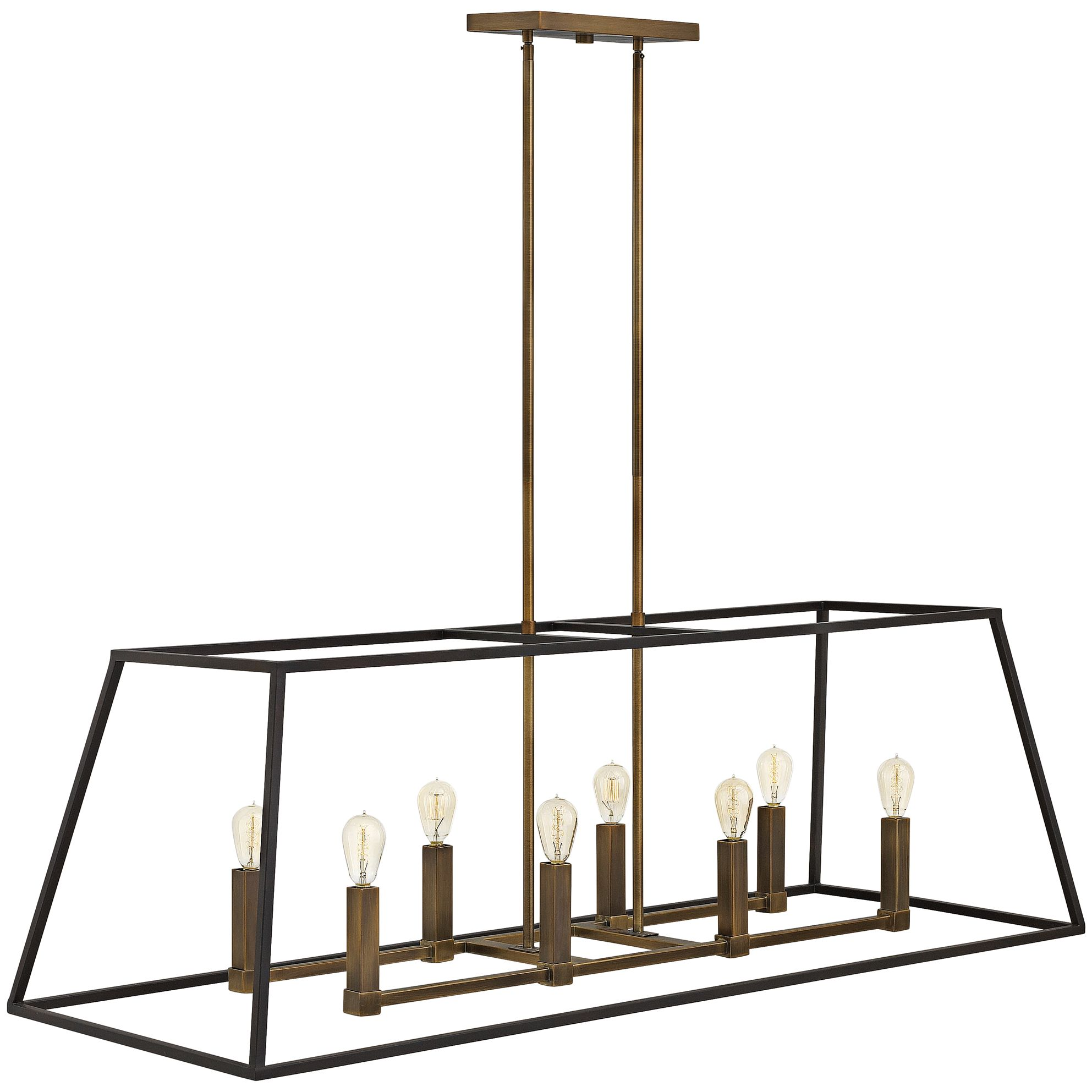 Epic Clean Lines with a tapered ends and a two twon finish make this simple chandelier anything but plain jane Hinkley Fulton Chandelier from LampsPlus