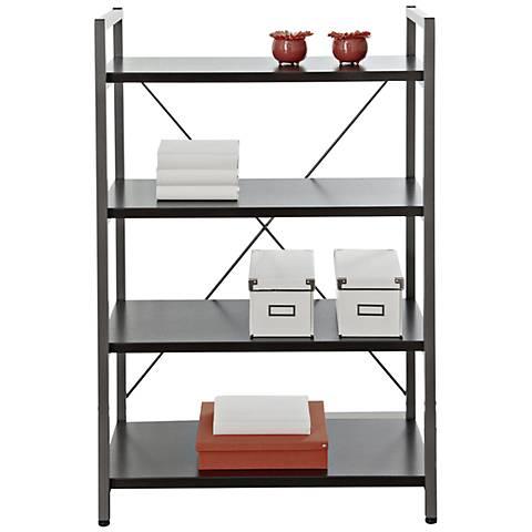 Modern Open Frame 4-Shelf Espresso Bookcase
