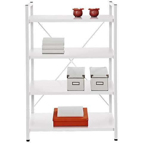 Modern Open Frame 4-Shelf White Bookcase