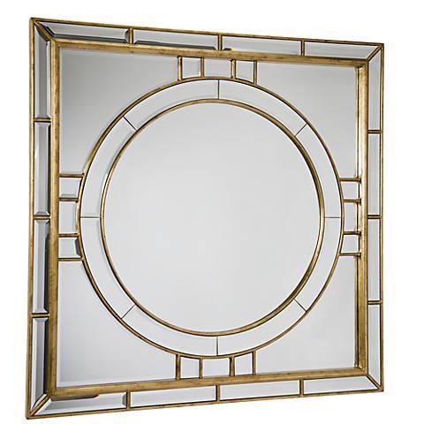 "Regina Andrew Design Beveled Gold 36"" Square Wall Mirror"