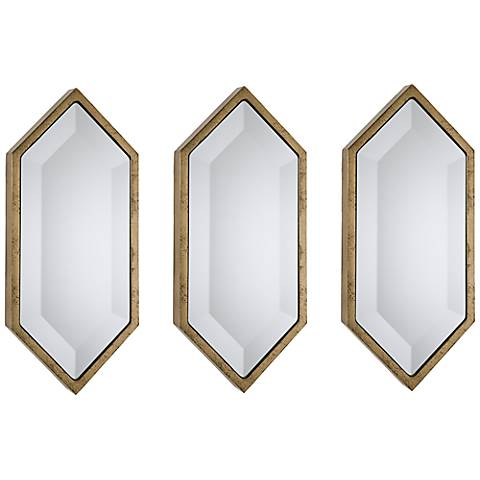 "Regina Andrew Design Set of 3 Diamond 15"" High Gold Mirrors"