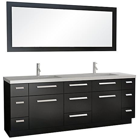 Moscony Espresso 84 Double Sink Vanity Set