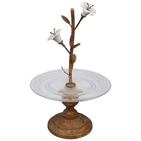Bisenti Small Glass Tray On Metal Stand